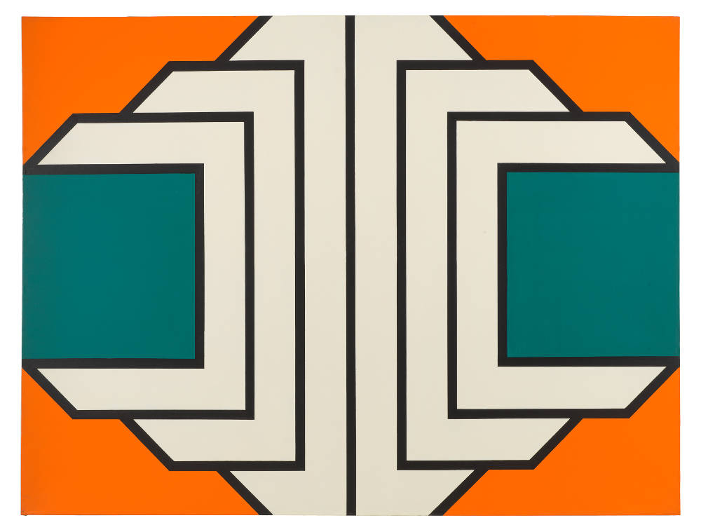 Imre Bak, Blue, 1969. Acrylic on canvas 150 x 200 cm (59 x 78 3/4 inches)