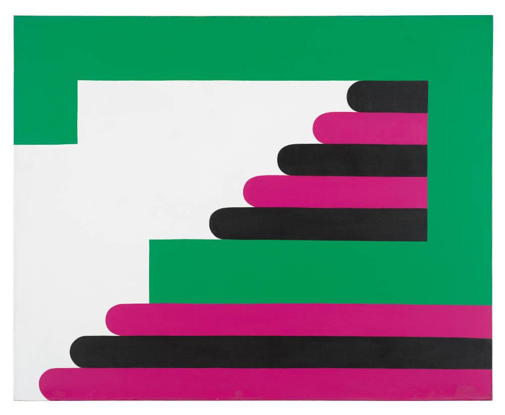 Imre Bak, Green-Purple-Black, 1968. Acrylic on canvas 120 x 150 cm (47 1/4 x 59 inches)