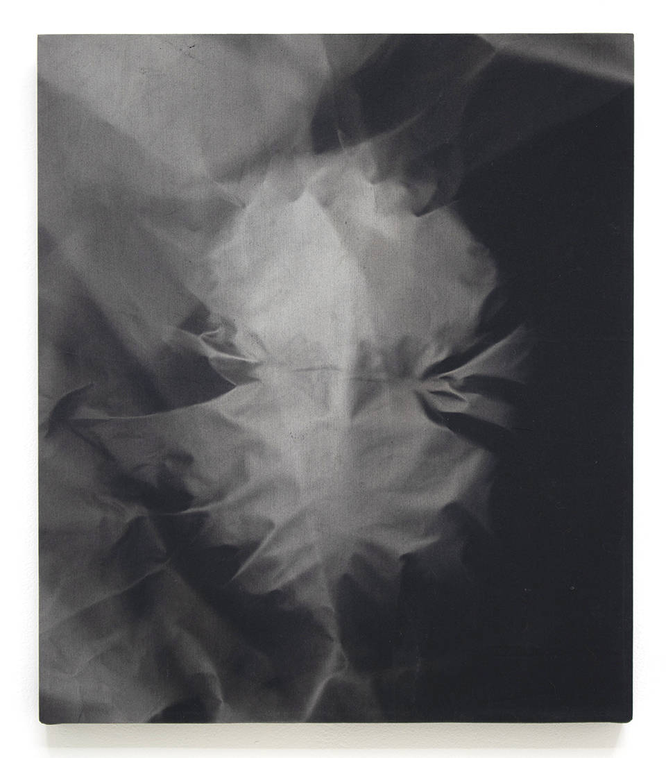 Chris Duncan, Mask (Six Month Exposure), 2018. Direct sunlight on fabric 18 x 16 inches (45.7 x 40.6 cm)