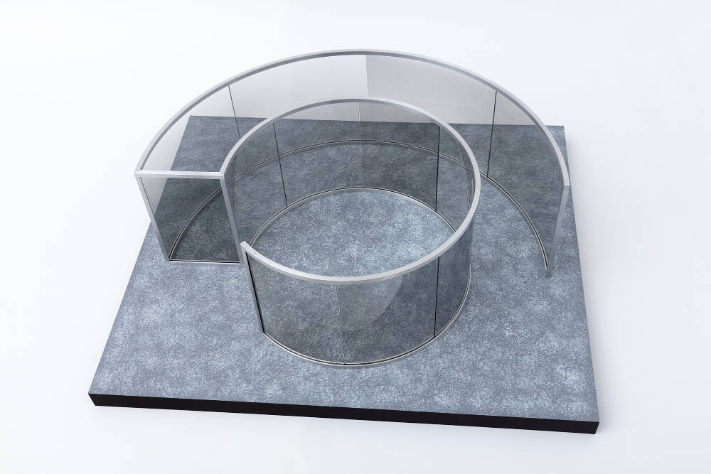 Dan Graham, Untitled, 2016. 2-way mirror glass, aluminum, MDF and acrylic ed 1/3 42 x 107 x 125 cm 16.5 x 42.1 x 49.2 in