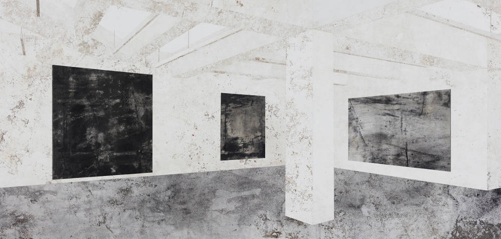 Daniel Senise, Nahmad Contemporary - NY I, 2018. Monotype of cement floor on canvas, acrylic medium and charcoal 150 x 300 cm 59.1 x 118.1 in