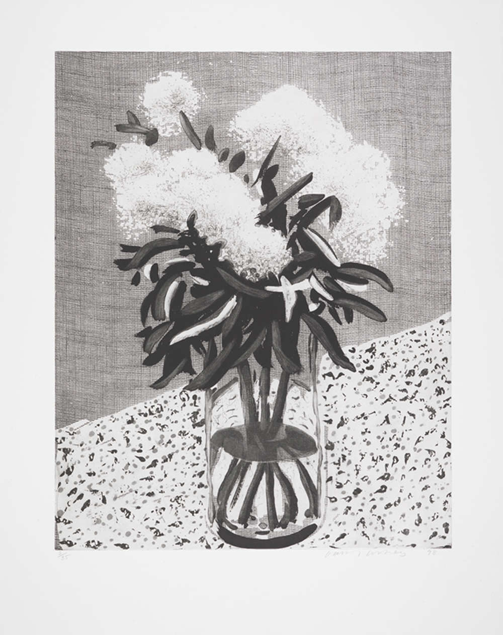 David Hockney, Peonies in a Glass Vase, 1998. Etching. Signed in pencil and numbered from the edition of 35. Printed by the artist and Maurice Payne, Los Angeles. Published by the artist. 96.77 x 76.45 cm