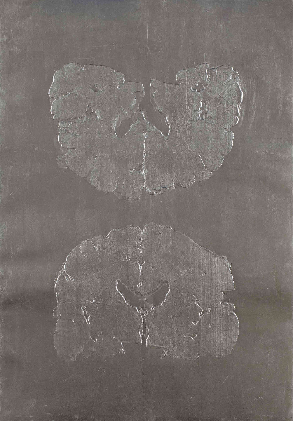 Dillwyn Smith, Silvering the Cerebrum, 2015. Unique emboss on chine collé, silver leaf to tarnish, 70 x 50 cm