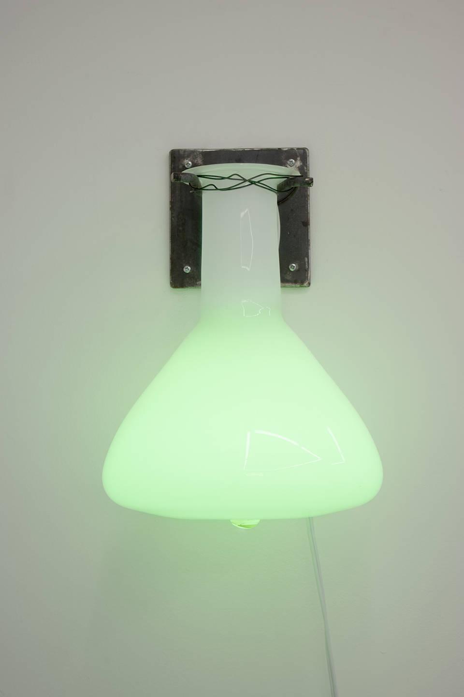 Elias Hansen, Light Sculpture, 2019. Glass, steel, electrical wiring, LED bulb 13 x 11 x 12 inches (33 x 27.9 x 30.5 cm)