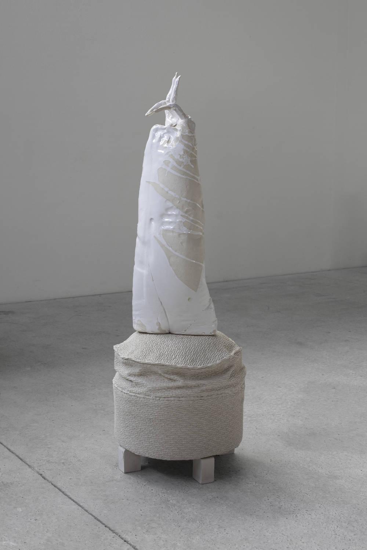 Erwin Wurm, Peace Restrained, 2018. Ceramic, glaze (ceramic), acrystal (pedestal) 80 x 30 x 25 cm