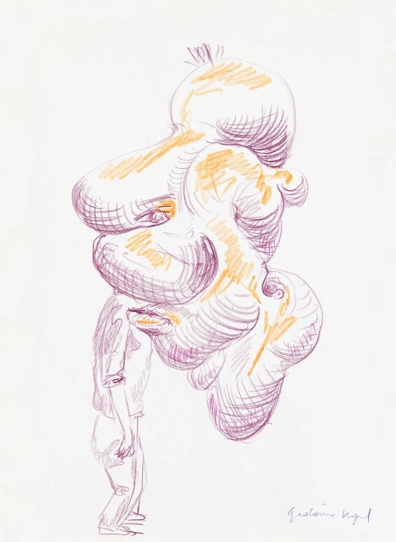 Erwin Wurm, Gedärm Kopf, 2017. Crayons on paper 29.7 x 21 cm