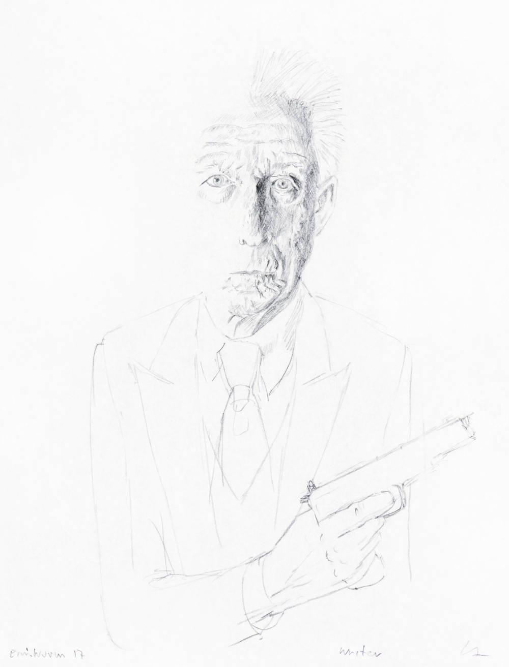 Erwin Wurm, Writer, 2017. Pencil on paper 29.7 x 21 cm