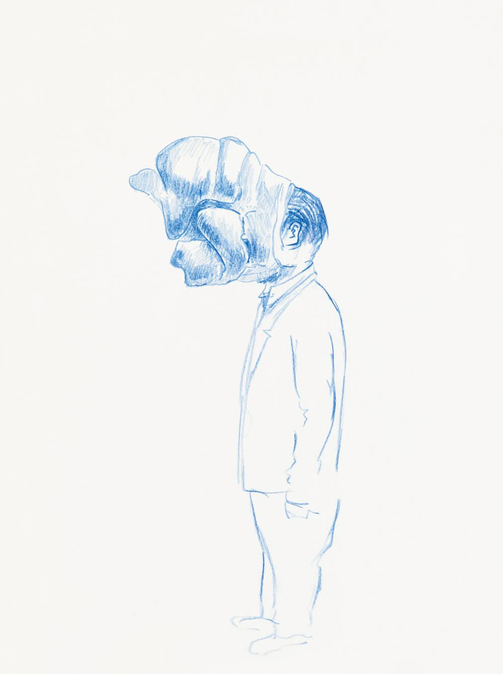 Erwin Wurm, Untitled, 2017. Crayon on paper 29.7 x 21 cm