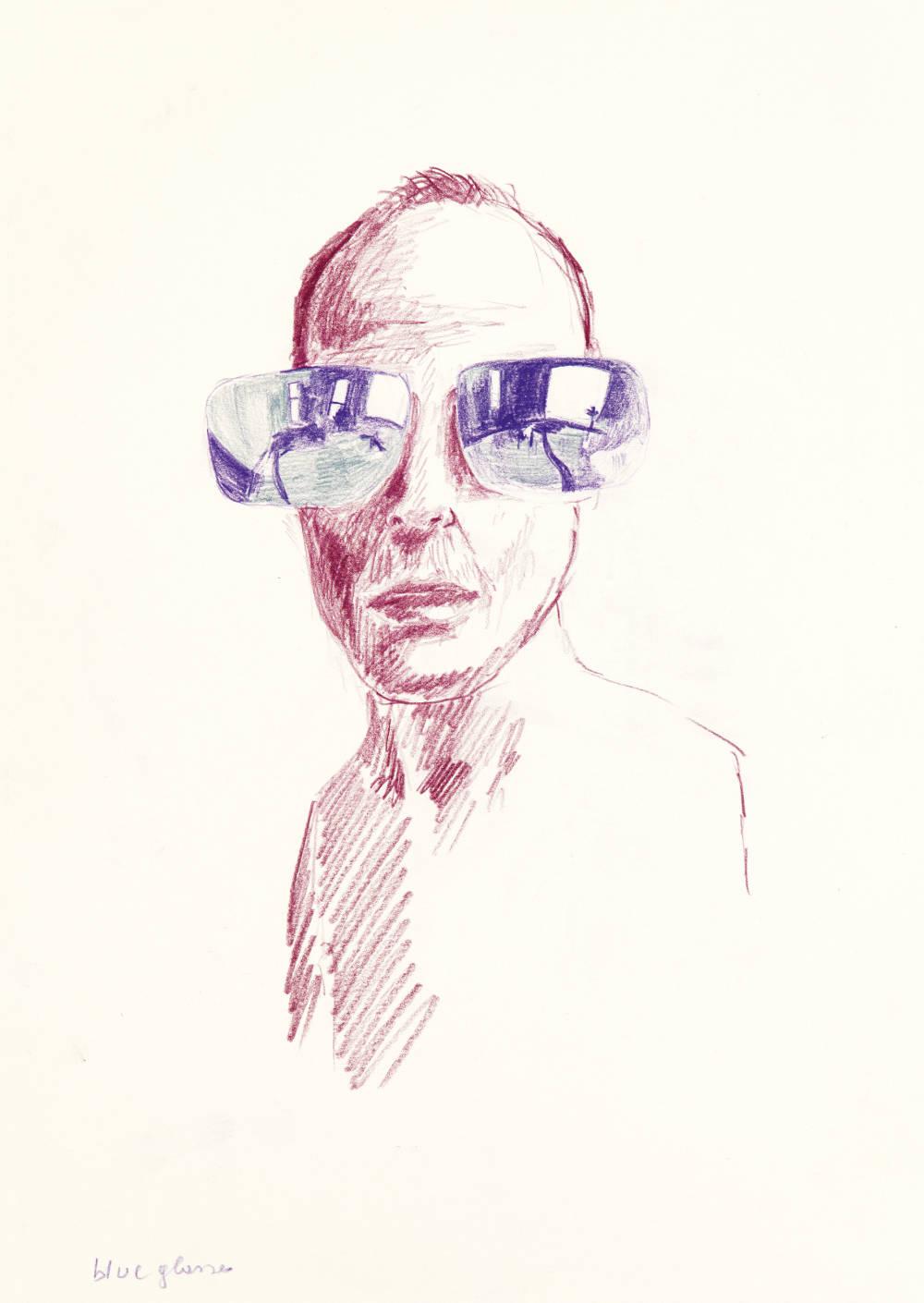 Erwin Wurm, Blue Glasses, 2016 – 2017. Selfportrait. Crayon on paper 42 x 29.7 cm