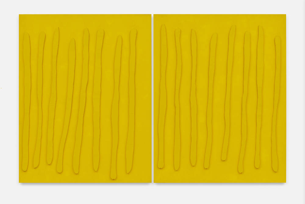 Günther Förg, Untitled, 1988. Wood, canvas and pigment in two parts 190 x 300.5 x 7 cm.; 74 3/4 x 118 1/4 x 2 3/4 in. (overall) Photo: def image, Berlin © Estate Günther Förg, Suisse / VG Bild-Kunst, Bonn 2019. Courtesy of the artist's estate and Galerie Max Hetzler, Berlin   Paris   London