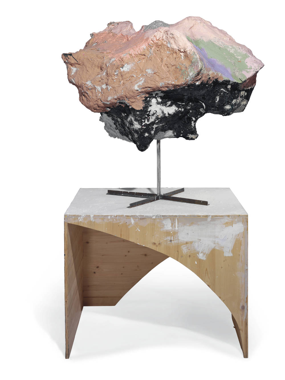 Franz West, Untitled, 2005. Lacquer and acrylic on papier-mâché, Styrofoam, cardboard and metal on acrylic and artist's wooden stand 109.8 by 116.8 by 90.2 cm (73 7/8 by 46 by 35 1/2 in.)