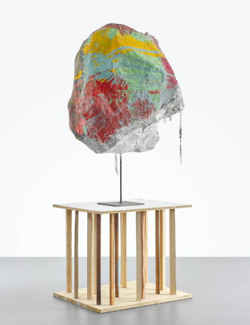 Franz West, Untitled, 2010. Papier-mâché, acrylic, lacquer, gauze and steel, artist's wooden stand 202 by 89 by 64.5 cm (79 1/2 by 35 by 25 3/8 in.)