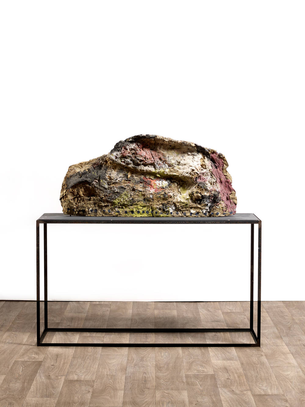 Franz West, Untitled (painted by Herbert Brandl), 1986. Oil on cotton gauze on papier-mâché, artist's metal table 54 by 110 by 22cm (21 1/4 by 43 5/16 by 8 11/16 in.)