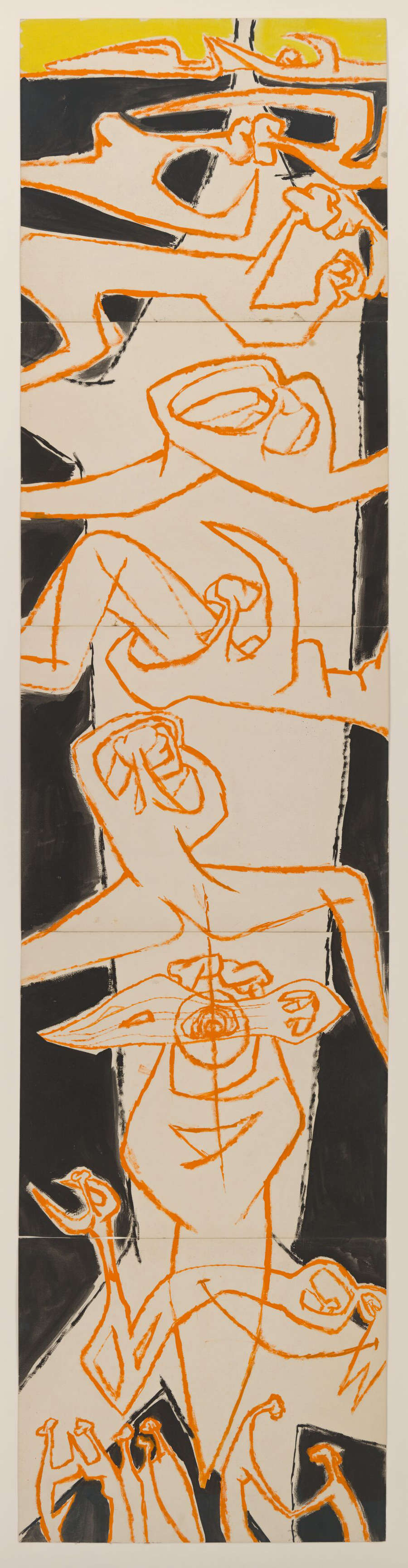 Luchita Hurtado, Untitled, c. 1954. Oil on paper, 5 parts Unique 229.2 x 54.9 cm / 90 1/4 x 21 5/8 inches © Luchita Hurtado. Courtesy the artist and Hauser & Wirth. Photo: Jeff McLane