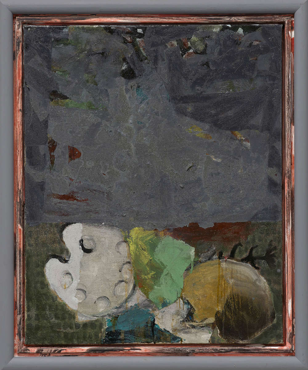 Markus Lüpertz, Palette (Fragonard) Grau (Palette [Fragonard] Gray), 2018. Mixed media on canvas in artist's frame 39 1/4 x 31 3/4 inches 100 x 81 cm