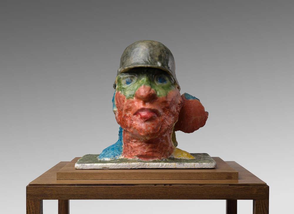 Markus Lüpertz, Pilz (Mushroom), 2017. Plaster, wax 17 3/4 x 17 3/4 x 11 3/4 inches 45 x 45 x 30 cm