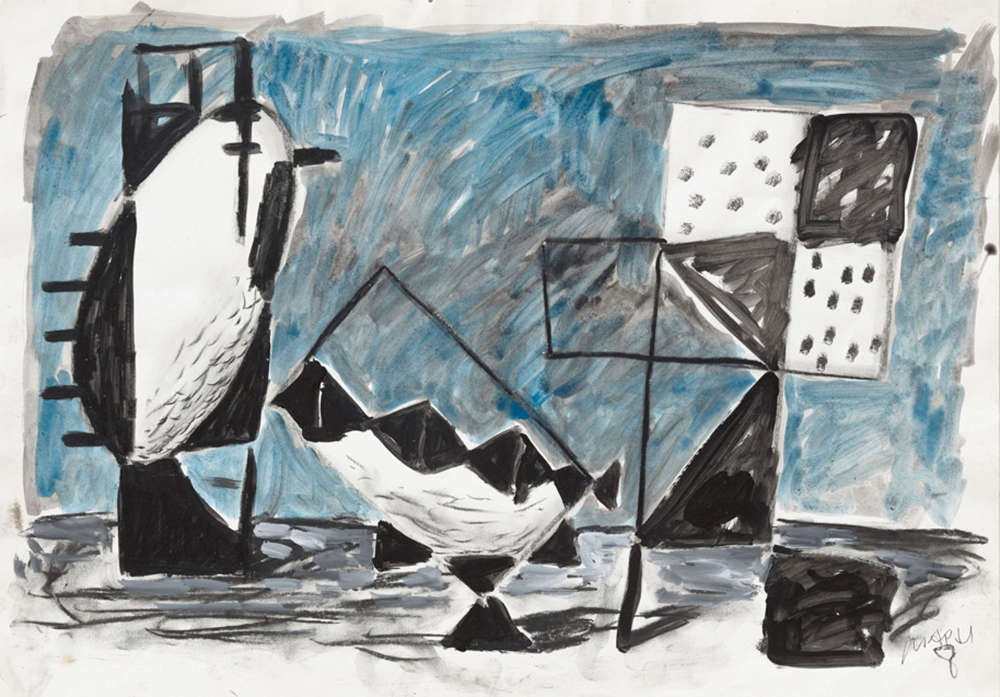 Markus Lüpertz, Untitled, ca. 1980. Acrylic, charcoal on paper 17 x 24 inches 43 x 61 cm