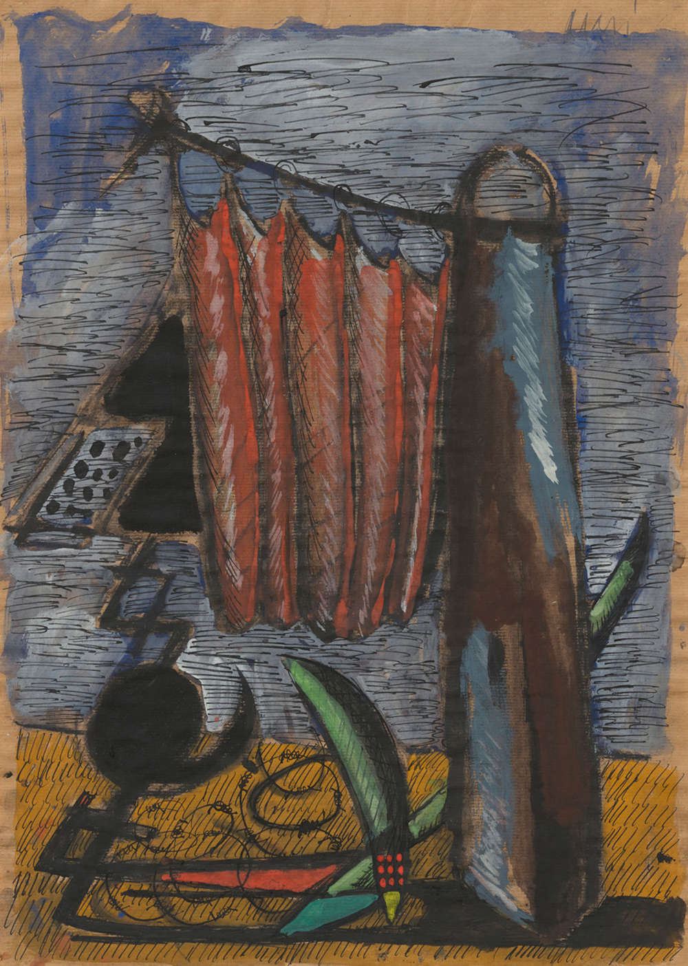 Markus Lüpertz, Untitled (Monument, dithyram-ch) (Untitled [Monument, dithyram-ch]), 1976. Charcoal, ink, gouache, oil on paper 24 3/4 x 17 3/4 inches 63 x 45 cm