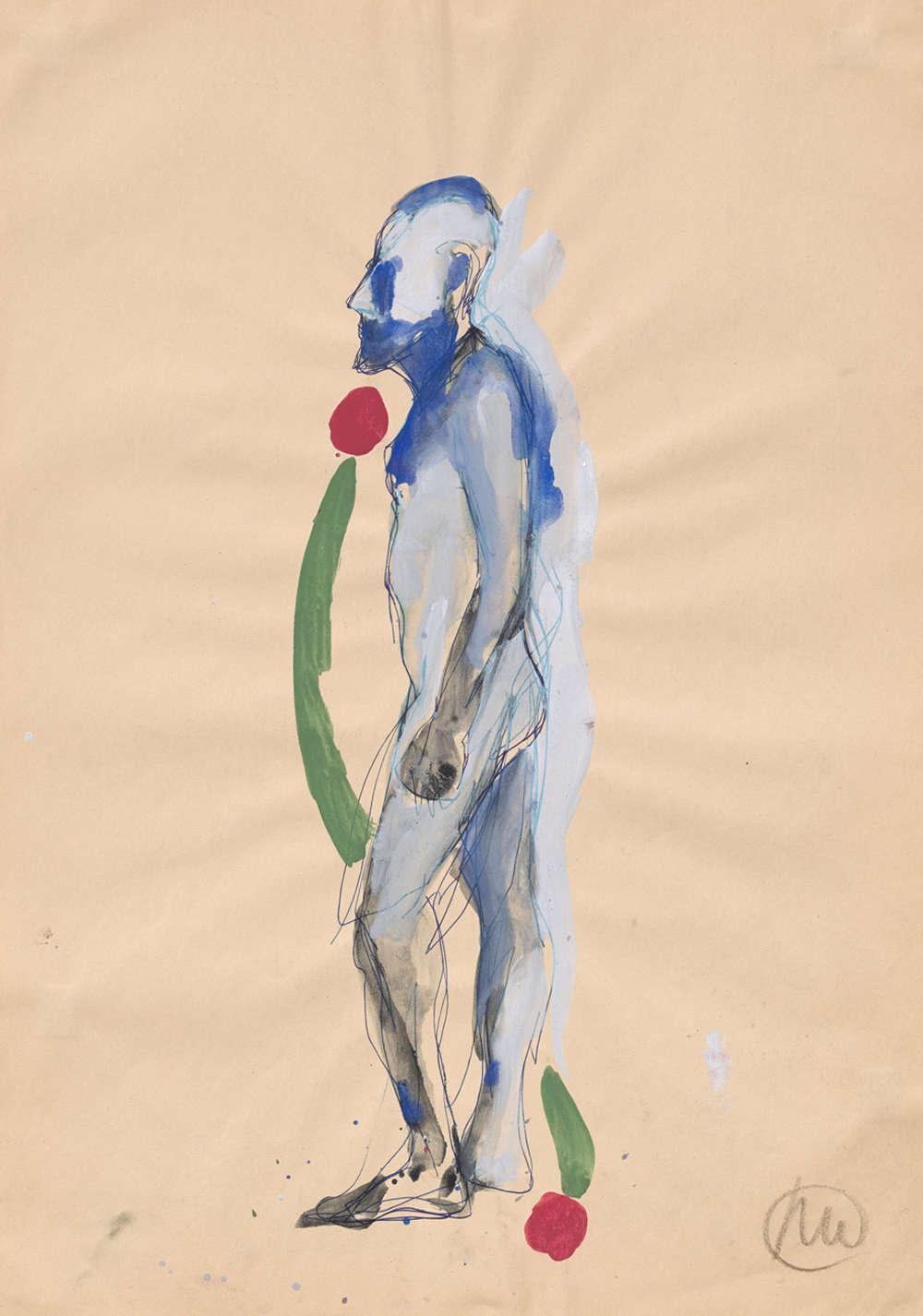 Markus Lüpertz, Untitled (Standbein - Spielbein) (Untitled [Standing leg – Free leg]), 1983 - 1985. Ballpoint pen, gouache on paper  24 x 17 inches 61 x 43 cm