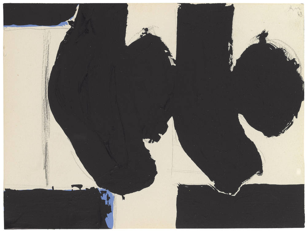 Robert Motherwell, Elegy to the Spanish Republic No. 110C, 1968, Acrylic and graphite on paper, 15.2 x 20.3 cm