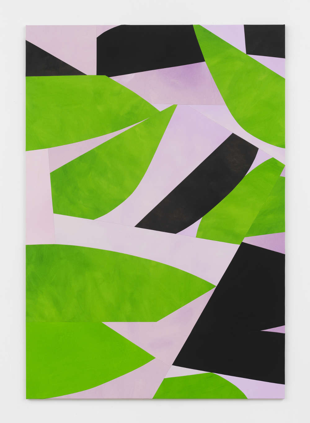 Sarah Crowner, Leaves and Shadows, Lilac Background, 2019. Acrylic on canvas, sewn 264.2 x 182.9 cm (104 x 72 in.) Courtesy the artist and Simon Lee Gallery