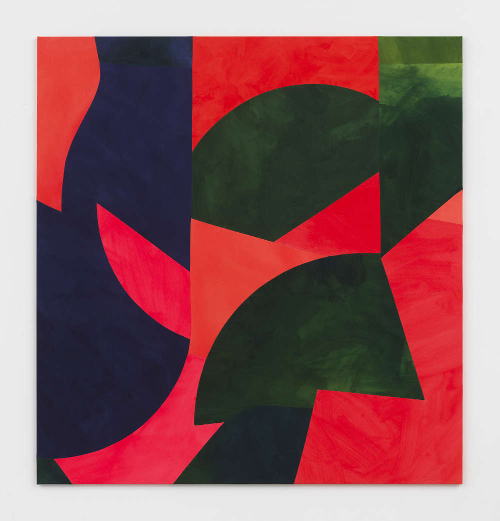 Sarah Crowner, Rotating Wings, 2019. Acrylic on canvas, sewn 208.3 x 198.1 cm (82 x 78 in.) Courtesy the artist and Simon Lee Gallery