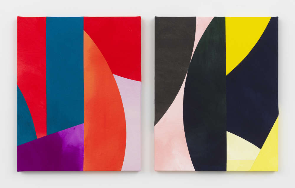 Sarah Crowner, Untitled, 2019. Acrylic on canvas, sewn. Diptych, each: 76.2 x 61 cm (30 x 24 in.) Courtesy the artist and Simon Lee Gallery
