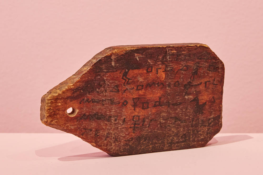Egyptian Wooden Inscribed Mummy Tag, c. 200 BCE - 200 CE