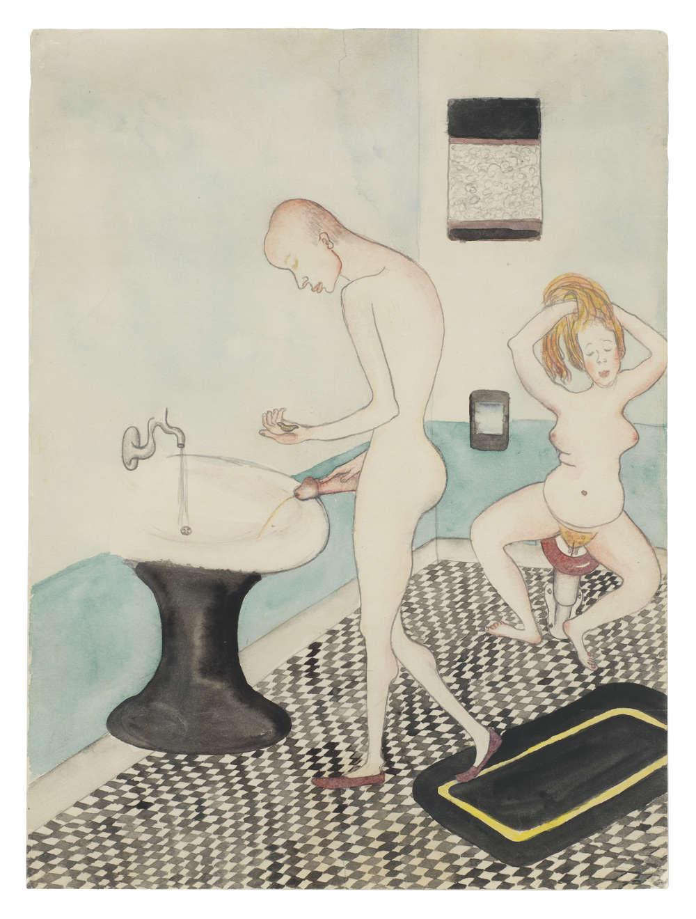Alice Neel, Untitled (Alice Neel and John Rothschild in the Bathroom), 1935. Courtesy The Estate of Alice Neel and David Zwirner © The Estate of Alice Neel