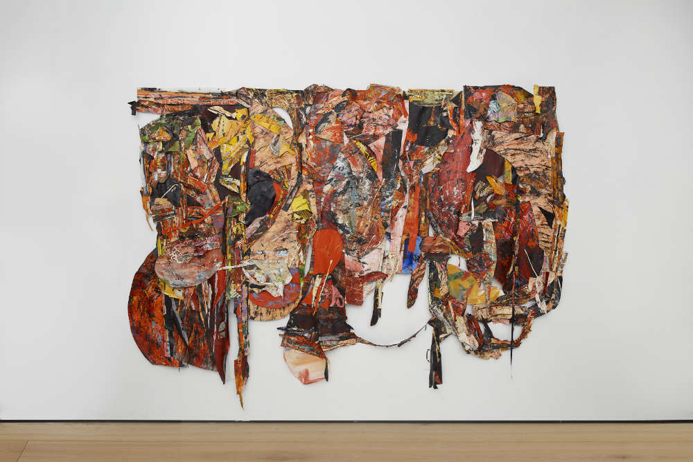 Angel Otero, Untitled, 2019. oil skins on fabric. 100 x 136 x 4 inches / 254 x 345.4 x 10.2 cm. Courtesy the artist and Lehmann Maupin, New York, Hong Kong, and Seoul. Photo: Matthew Herrmann.