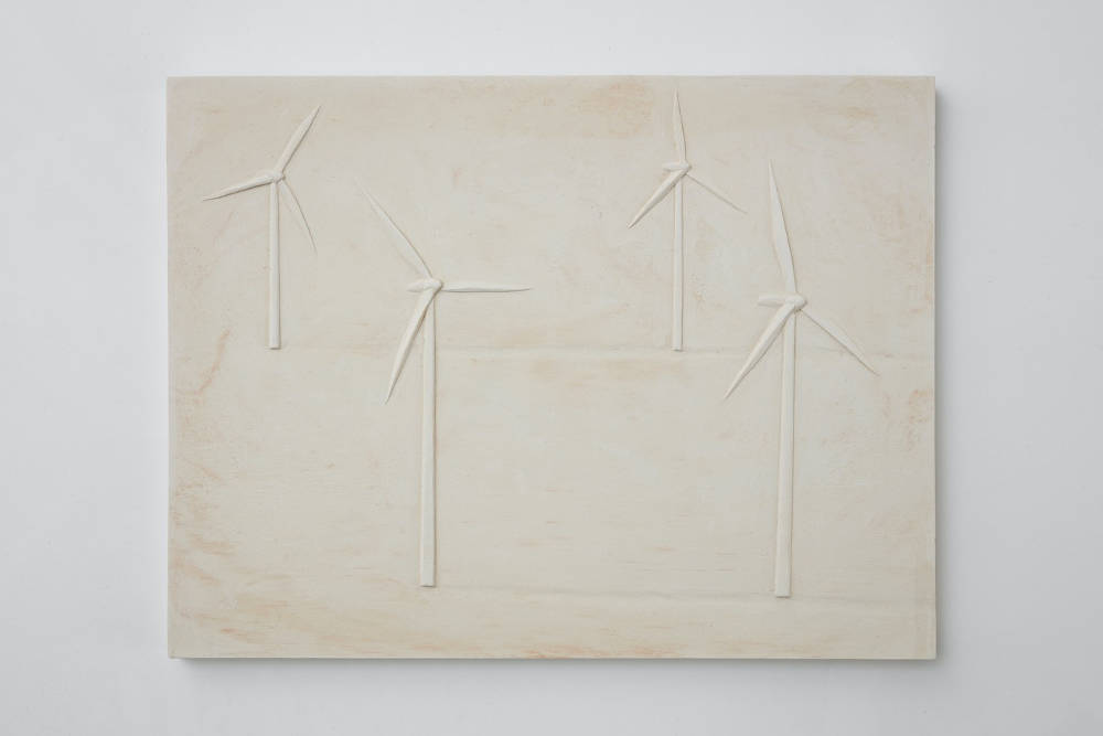 Anna-Bella Papp, Untitled (wind farm), 2018, clay, 41 x 31.7 x 2.5 cm, 16 1/8 x 12 1/2 x 1 ins. Photo: Robert Glowacki. © Anna-Bella Papp. Courtesy the artist & Modern Art, London