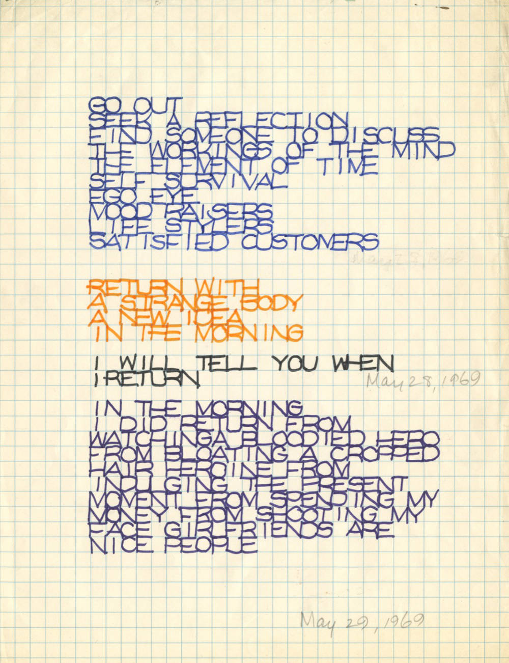 Rosemarie Castoro, Untitled (Concrete Poetry), 1969. Prismacolor marker and graphite on graph paper. Paper 27,9 x 21,6 cm (11 x 8,5 in) CCourtesy Anke Kempkes Art Advisory and Galerie Thaddaeus Ropac, London / Paris / Salzburg © The Estate of Rosemarie Castoro