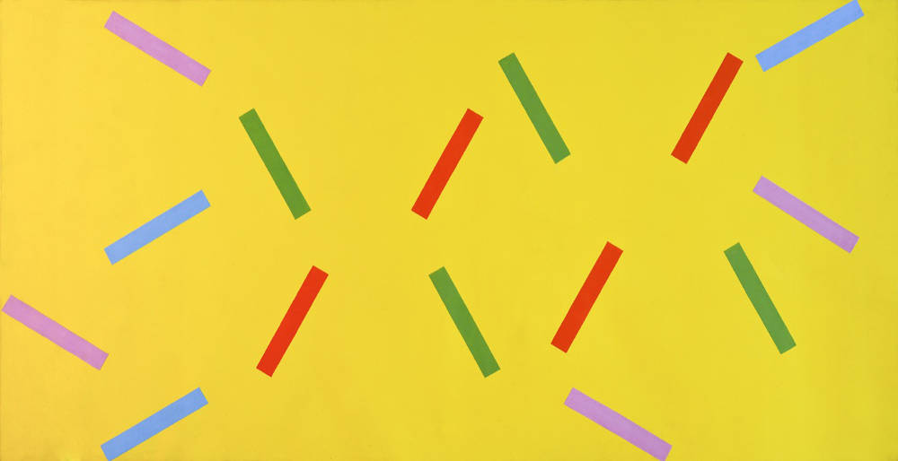 Rosemarie Castoro, Red Blue Purple Green Gold, 1965. Acrylic on canvas 182,2 x 361 cm (71,75 x 142,125 in) Courtesy Anke Kempkes Art Advisory and Galerie Thaddaeus Ropac, London / Paris / Salzburg © The Estate of Rosemarie Castoro