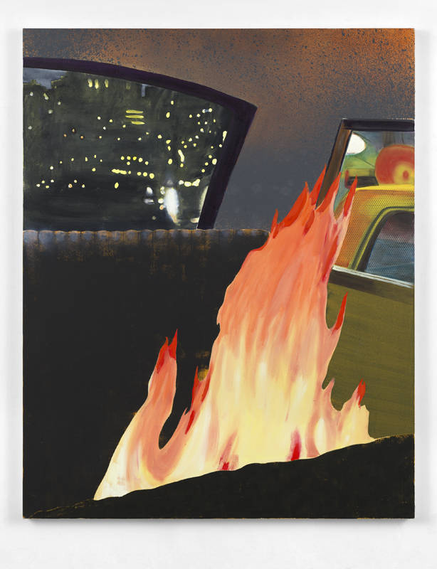 Dexter Dalwood, Fire in a Limo, 2018. Oil on canvas 162 x 130 cm (63 3/4 x 51 1/8 in.) Courtesy the artist and Simon Lee Gallery
