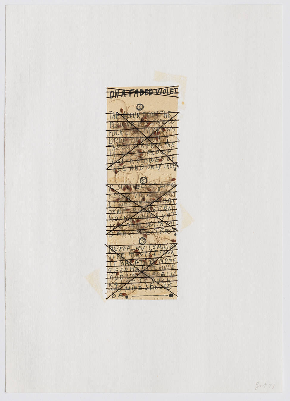 Elisabetta Gut, On a faded violet, 1979. Engrave, ink, collage, natural elements, thread on Fabriano Paper 29,5x21cm