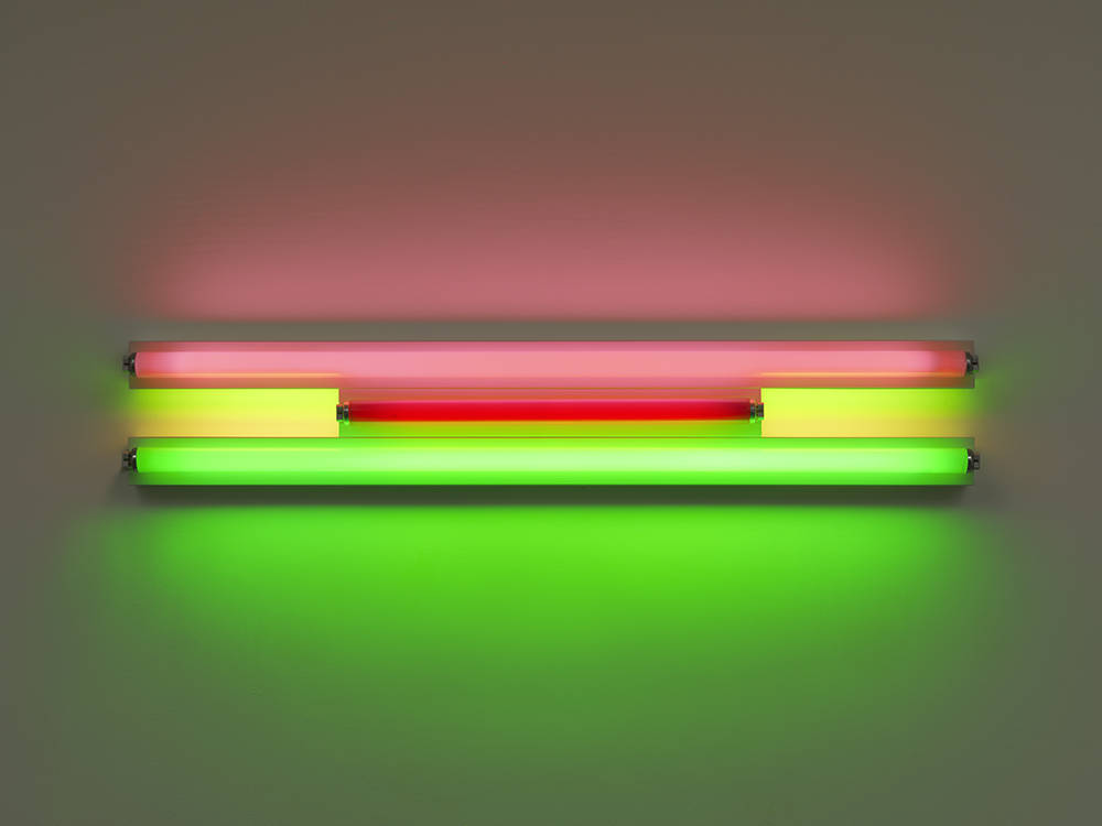 Dan Flavin, Untitled, 1995. Pink, red, and green fluorescent light, width 122 cm, width 48 1/8 in. Edition 4 of 5 © 2018 Estate of Dan Flavin / Artists Rights Society (ARS), New York. Courtesy David Zwirner & Cardi Gallery