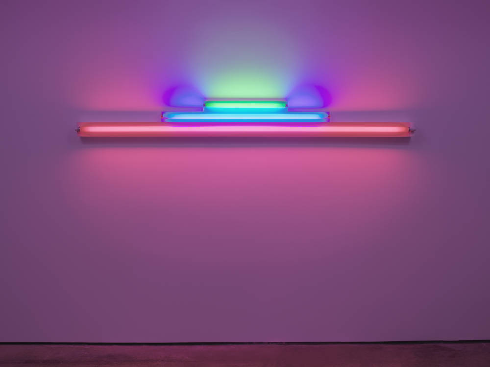 Dan Flavin, Untitled (in memory of Josef Albers) 2, 1977. Green, blue, and pink fluorescent light, width 244 cm, width 96 1/8 in. Edition 3 of 5 © 2018 Estate of Dan Flavin / Artists Rights Society (ARS), New York. Courtesy David Zwirner & Cardi Gallery