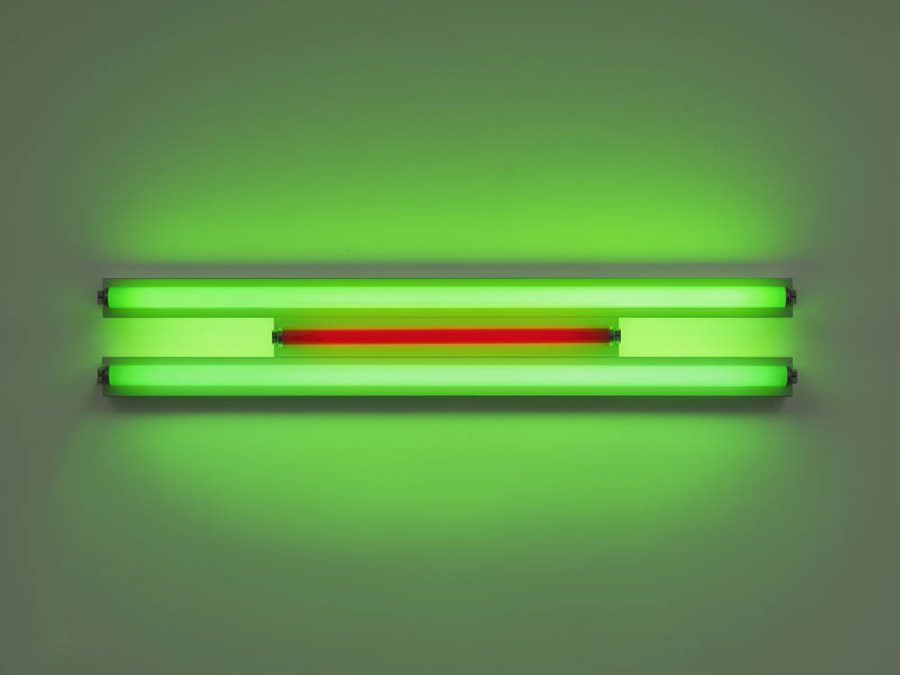 Dan Flavin, Untitled, 1995. Green and red fluorescent light, width 122 cm, width 48 1/8 in. Edition 2 of 5 © 2018 Estate of Dan Flavin / Artists Rights Society (ARS), New York. Courtesy David Zwirner & Cardi Gallery