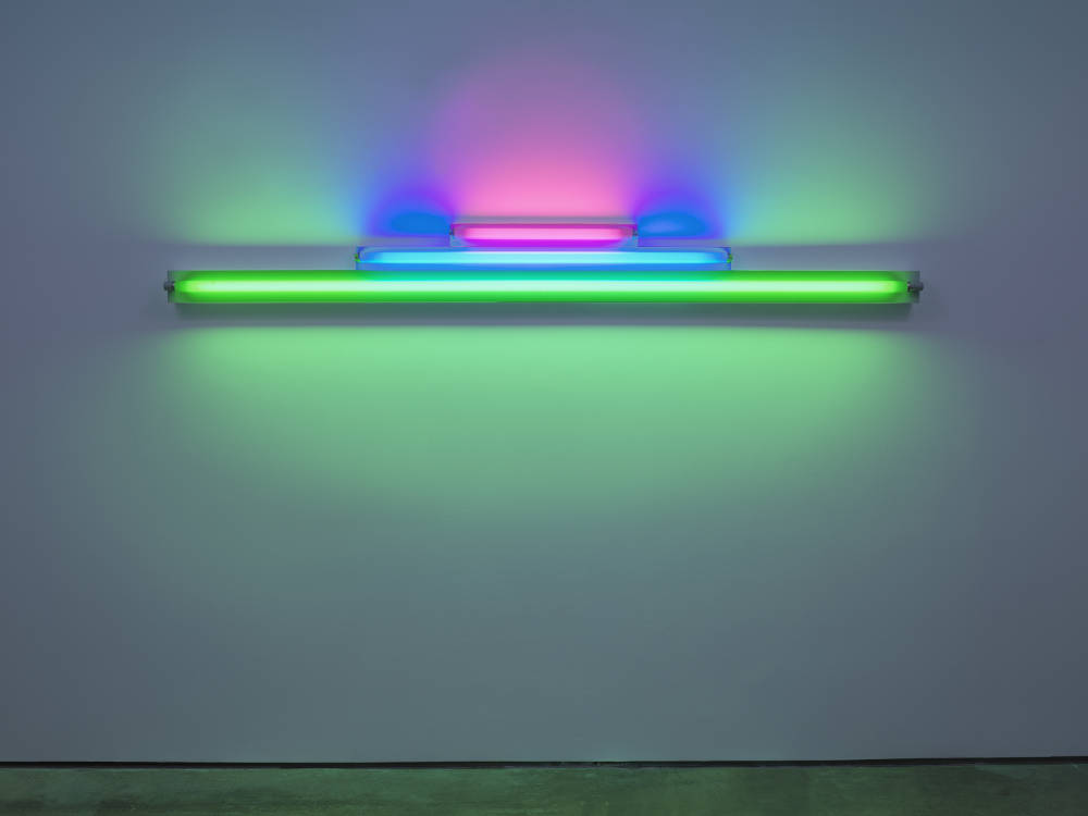 Dan Flavin, Untitled (in memory of Josef Albers), 1977. Pink, blue, and green fluorescent light, width 244 cm, width 96 1/8 in. Edition 3 of 5 © 2018 Estate of Dan Flavin / Artists Rights Society (ARS), New York. Courtesy David Zwirner & Cardi Gallery