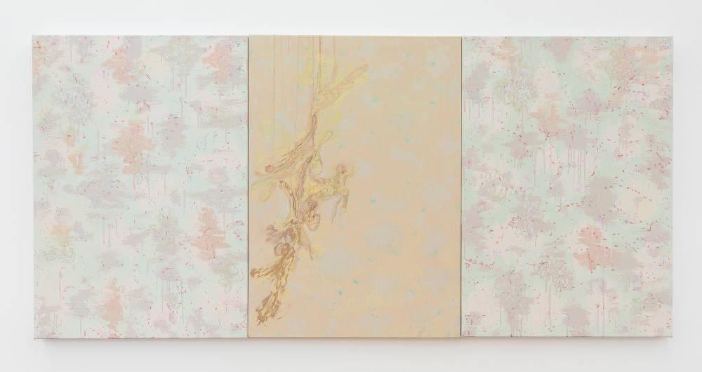 Flavio Garciandía, ABUC, 2017. Acrylic on canvas, 3 parts, each 100 x 70 x 4.8 cm (39 3/8 x 27 1/2 x 1 7/8 in.) 3 parts, total 100 x 210 x 4.8 cm (39 3/8 x 82 5/8 x 1 7/8 in.) signed and dated verso