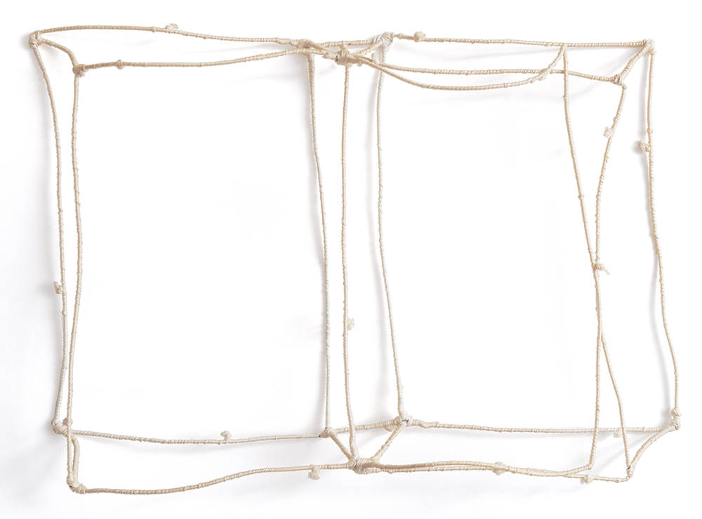 Franca Sonnino, Libro vuoto bianco, 1980. Iron and cotton thread 60x40cm