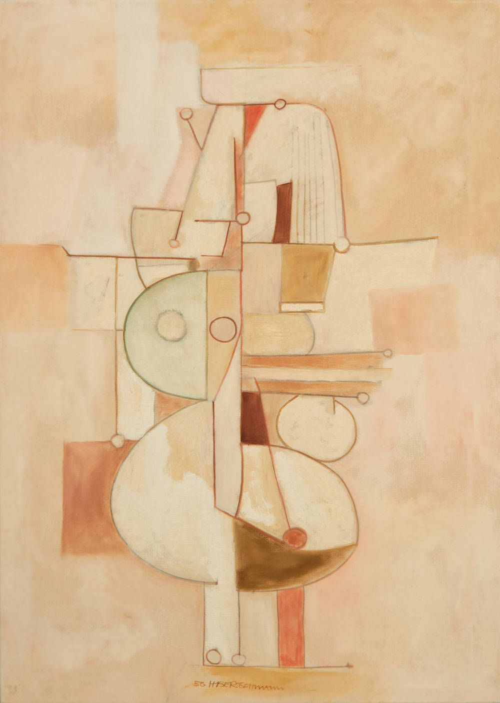 Harry Bertschmann (b. 1931), Untitled, 1956. Oil on canvas, 60 x 43 inches. Dated and signed lower center: 56 HBertschmann