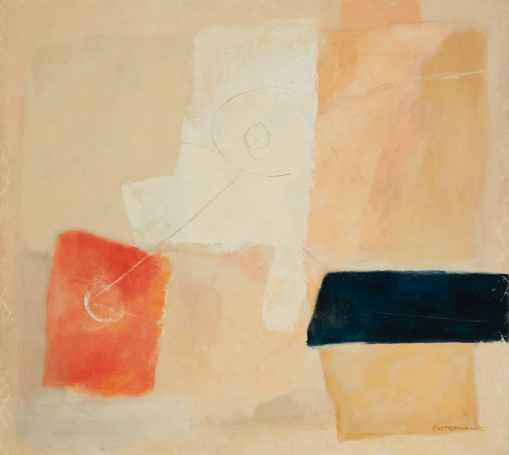 Harry Bertschmann (b. 1931), Untitled, 1956. Oil on canvas, 55 1/2 x 61 1/2 inches. Signed and dated lower right: Bertschmann 56