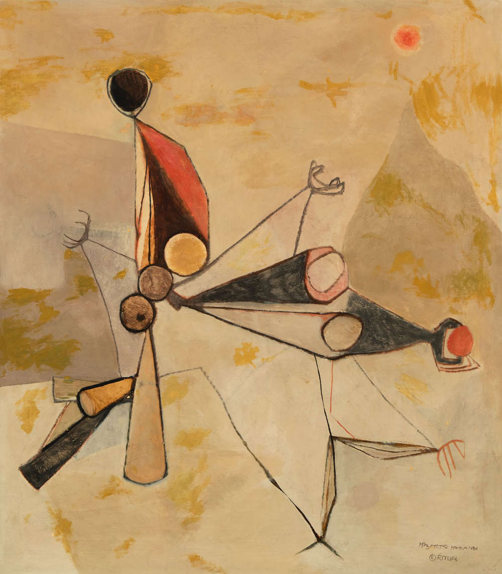 Harry Bertschmann (b. 1931), Ritual No. 2, 1954. Oil on canvas, 58 x 52 inches. Signed and titled lower right: HBertschmann / 2 Ritual