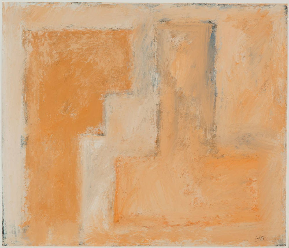 Harry Bertschmann (b. 1931), Untitled (Stuttgart Series), 1958. Casein on paper, 18 1/2 x 21 inches. Initialed lower right: HB