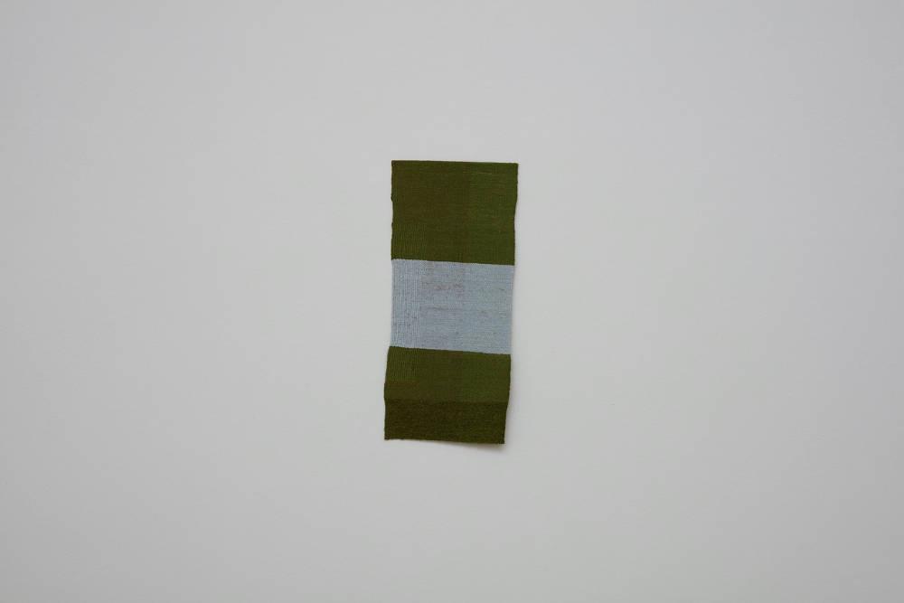 Helen Mirra, 1-21 May, Overlook - Green Gulch - Redwood Creek - Heather Cutoff - Overlook, 2017, linen, silk, wool, 56.5 x 25.4 cm, 22 1/4 x 10 ins. Photo: Robert Glowacki. © Helen Mirra. Courtesy the artist, Modern Art, London & Peter Freeman, Inc., New York