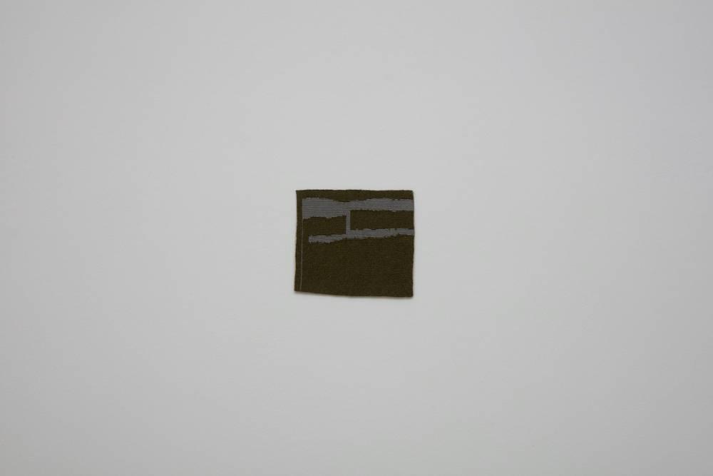 Helen Mirra, Dark blackish green, light grayish blue (dsh), 2015, linen, alpaca, 26 x 30.2 cm, 10 1/4 x 11 7/8 ins. Photo: Robert Glowacki. © Helen Mirra. Courtesy the artist, Modern Art, London & Peter Freeman, Inc., New York