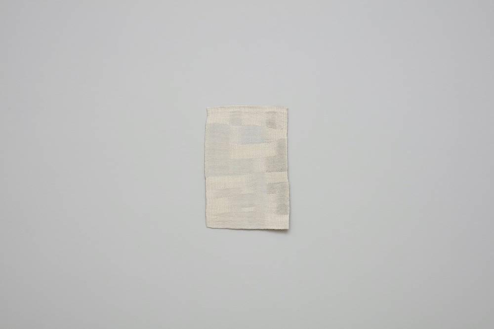 Helen Mirra, February, 2018, linen, 45.7 x 29.5 cm, 18 x 11 5/8 ins. Photo: Robert Glowacki. © Helen Mirra. Courtesy the artist, Modern Art, London & Peter Freeman, Inc., New York