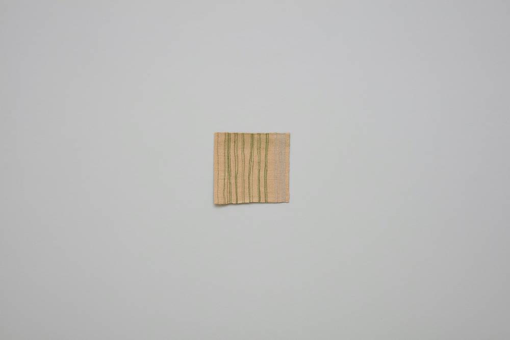 Helen Mirra, Green tying bale edging, 2016, linen, alpaca, 26. x 27 cm, 10 1/4 x 10 5/8 ins. Photo: Robert Glowacki. © Helen Mirra. Courtesy the artist, Modern Art, London & Peter Freeman, Inc., New York