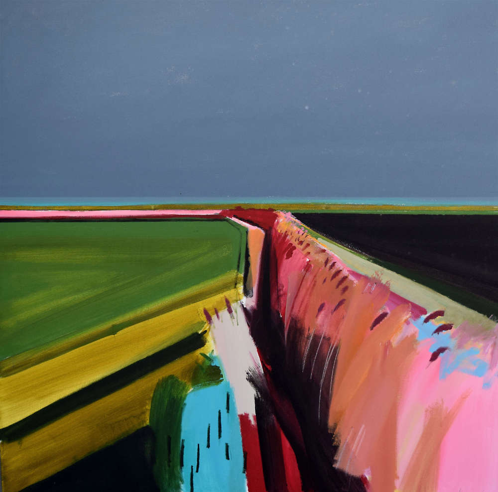 Fred Ingrams, Wet evening on Methwold Fen, Acrylic on canvas, 150 x 150 cm